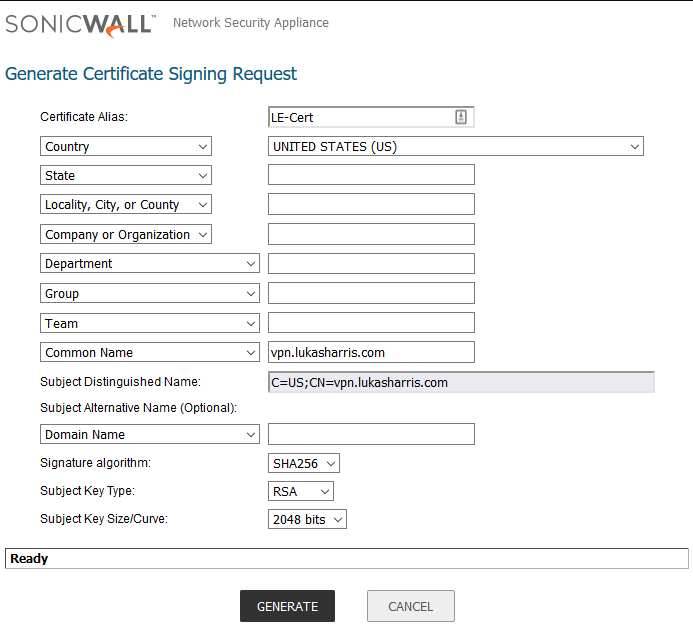 SonicWall Certificate Signing Request form